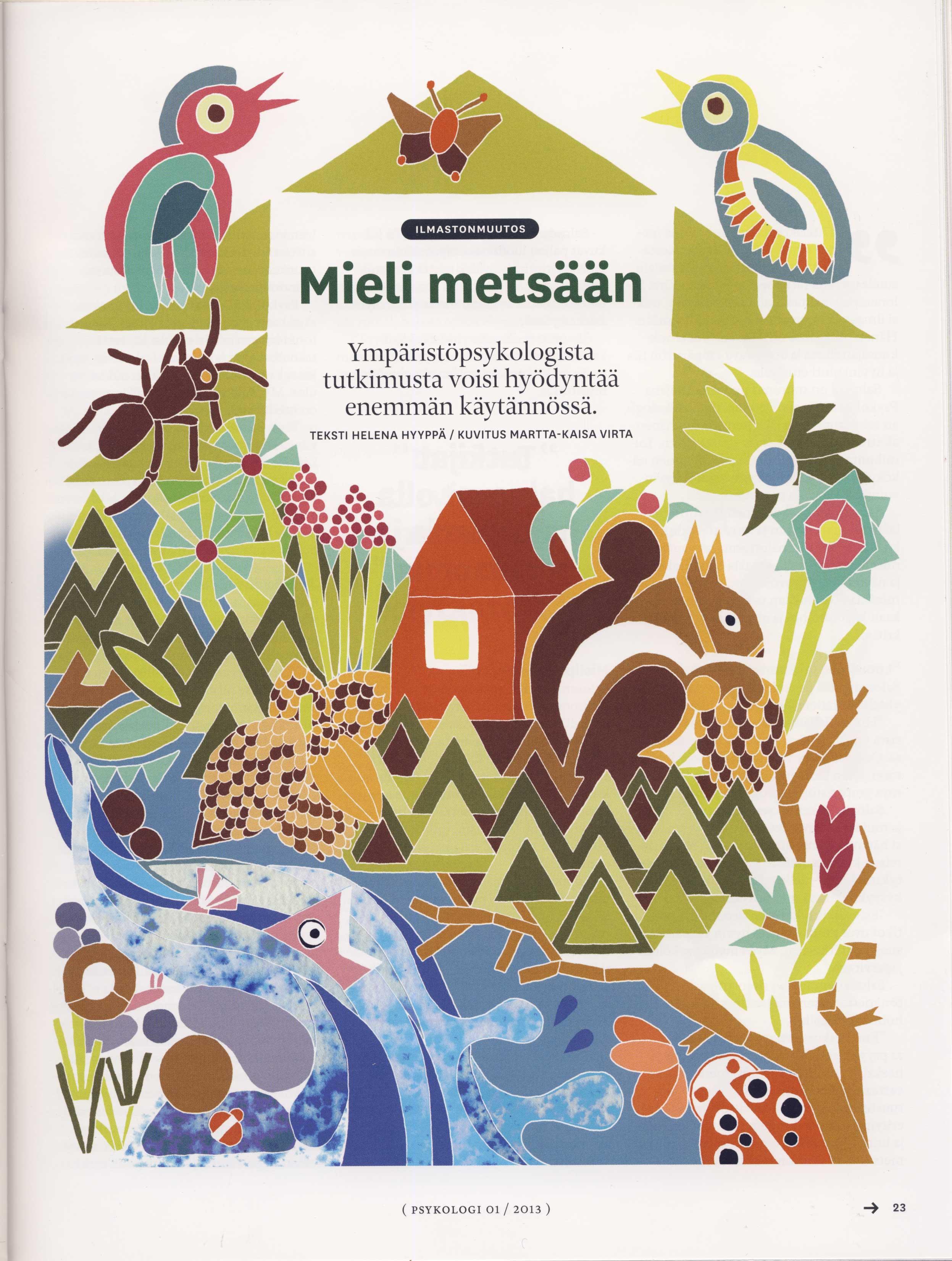 Psykologi lehti, Mieli metsään artikkeli, 2012