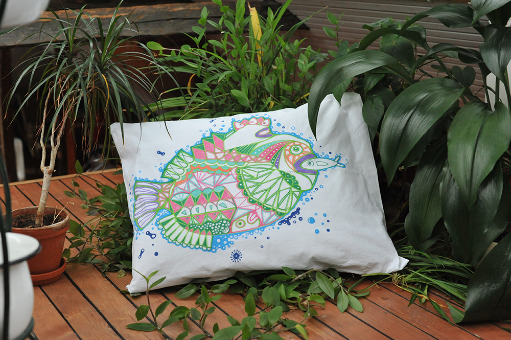 kalatyynyliina, 2012, Fish pillowcase