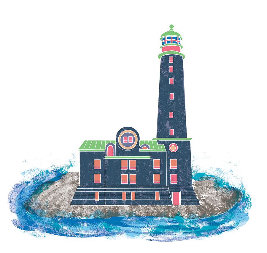 Bengtskärin majakka/ lighthouse of Bengtskär , Illustration for the Mondo magazine Finland traveling tips. 2016