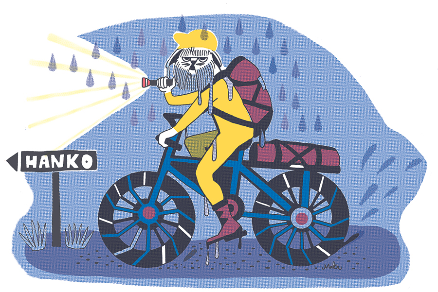 Biking in Finland, Illustration for Mondo magazine, 2016