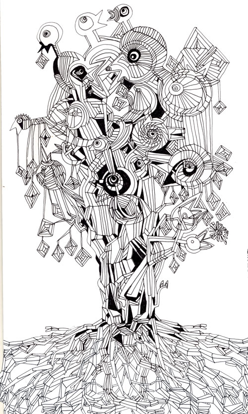 tree of birds 1, 2010, ink drawing.