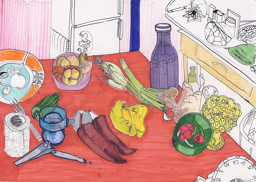 Keittiö, sketchbook 2015