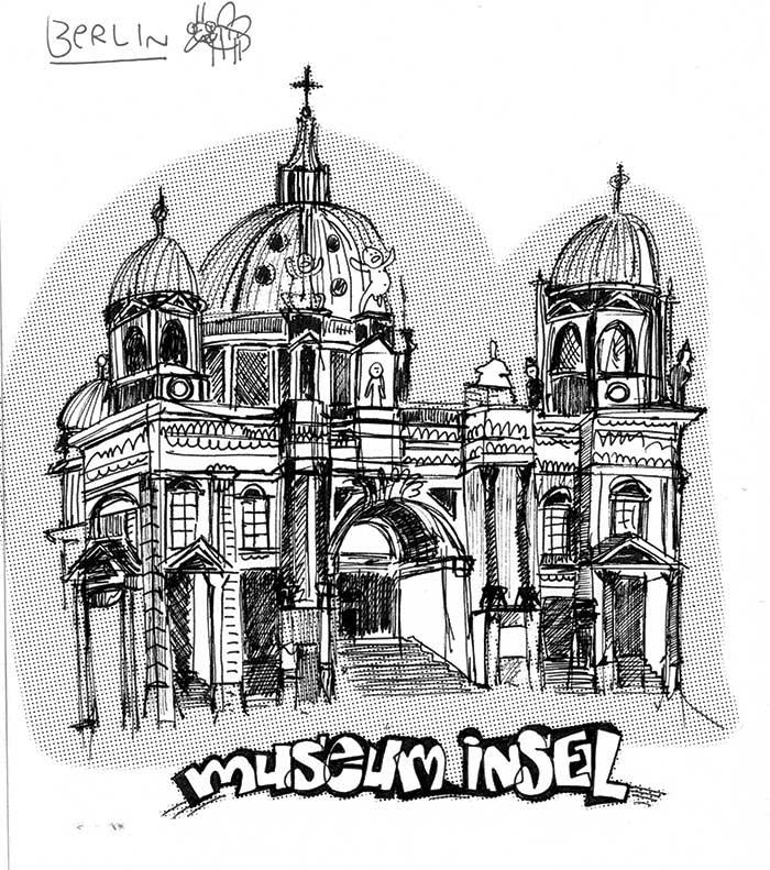 Berlin museum insel, sketchbook Berlin, 2016