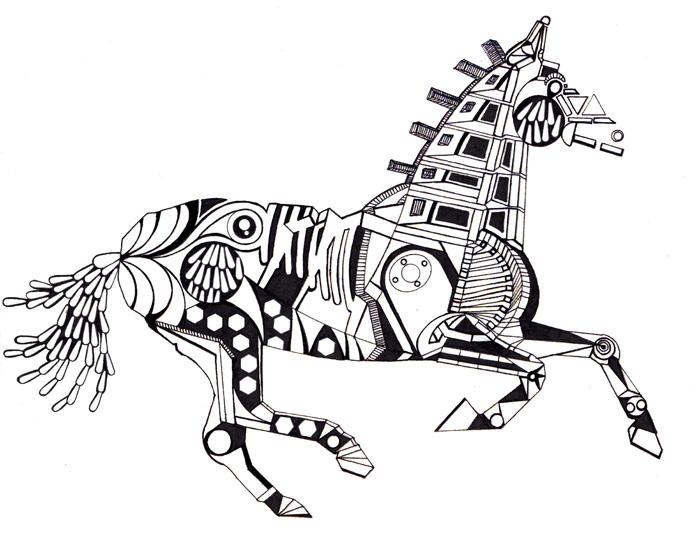 running horse 2011, mustepiirrustus