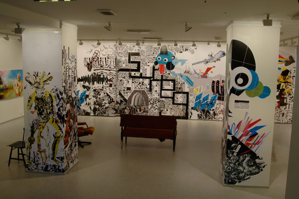 Art Museum of Jyväskylä, Finland, print, markers, 4x11m, 2008, Collage made with other artists from SWAEG collective