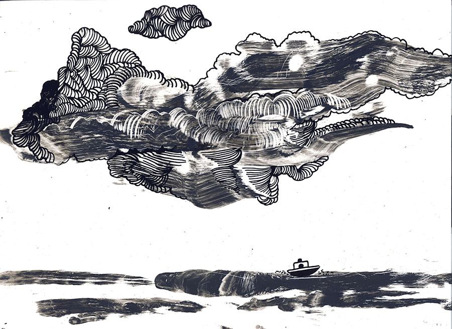 merellä, sailing, sketchbook, sketch for the clouds-book
