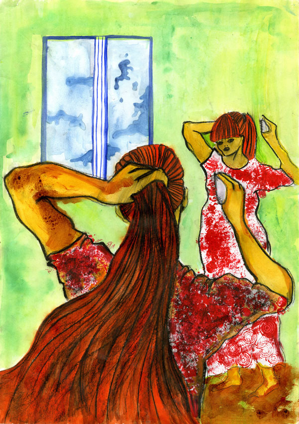 Nainen peilissä/Woman in the mirror, ink,watercolor, 2006