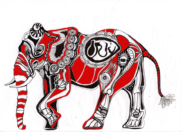 Ronsu/An Elephant, Drawing 2010