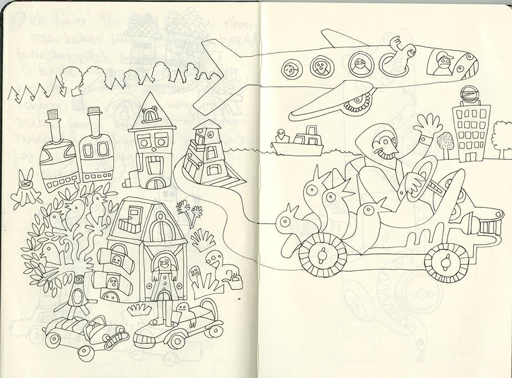 Sketchbook in Rüsselsheim Workshop, illustration about the OPEL city Rüsselsheim