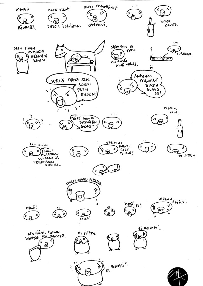 sekaisin, sarjakuva 2004, sketchbook